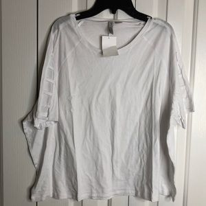 NWT H&M size XL white T-shirt with cut out sleeve